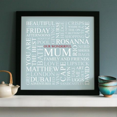 Personalised 'Mum's Favourites' Square Print